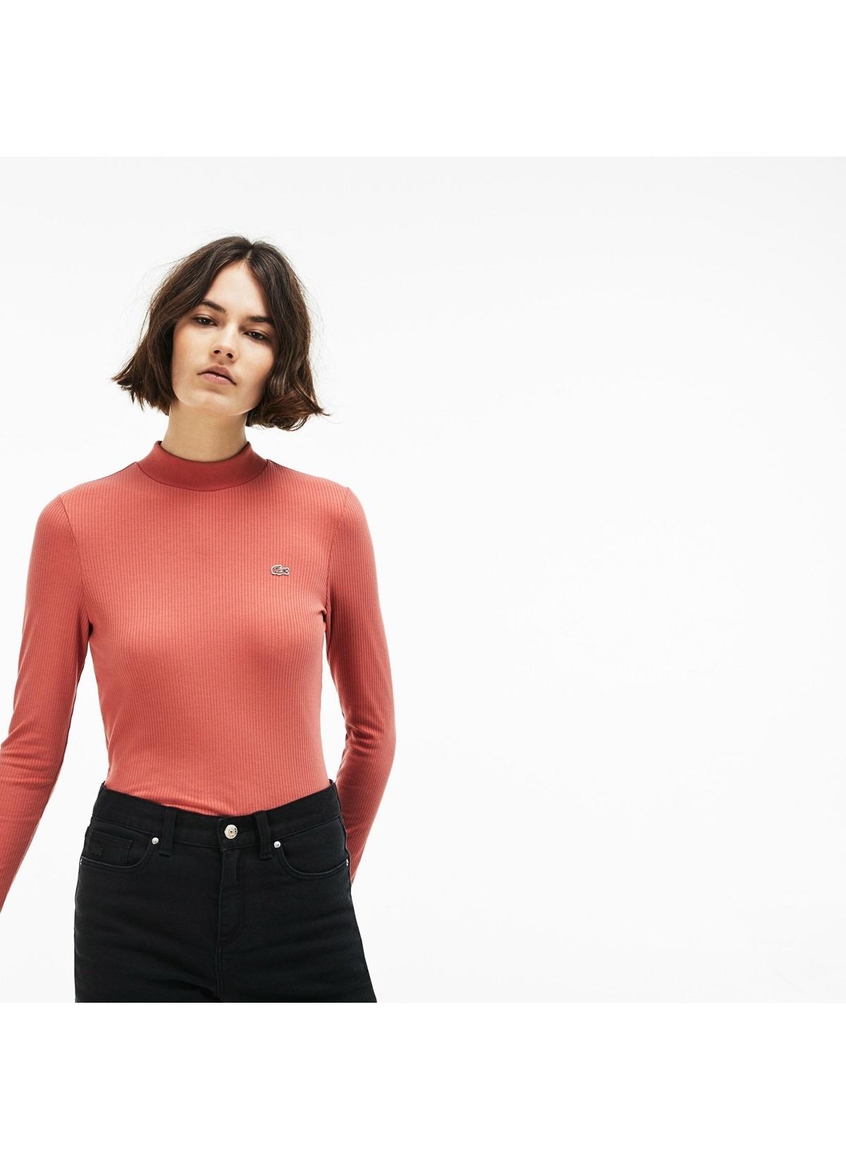 Lacoste Sweatshirt TF8962.D02 Lacoste Kadın Turuncu Uzun Ko